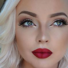 Blonde with a Dark Red Matte Lips and a Clean Eye Makeup for Classical Look