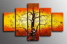 100% Hand painted Golden sunshine rich  tree Abstract Wall  home Decor Oil Painting on canvas 5pcs/set mixorde Framed-in Painting & Calligra...