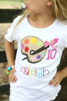 Personalized birthday shirt bright colors paint palette with ribbon and polka dots for art party or painting party - Birthday Shirts - Ideas of Birthday Shirts - personalized birthday shirt bright colors paint by rebekahcrisco Artist Birthday Party, Birthday Painting, 9th Birthday Parties, Birthday Ideas, Painting Party For Kids, 7th Birthday Party For Girls Themes, Kids Art Party, Puppy Birthday, Birthday Recipes