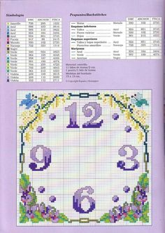 Clock Cross Stitch Numbers, Dmc Cross Stitch, Cross Stitch Bookmarks, Cross Stitch Flowers, Cross Stitching, Cross Stitch Patterns, Floral Clock, Bead Loom Patterns, Silk Painting