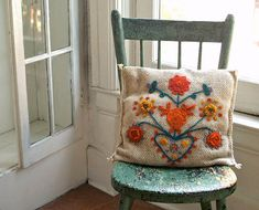 Vintage Folk Art Embroidered Crewel Work Pillow by 5gardenias