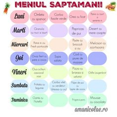 Menu of the week, May – Ama Nicolae – Healty food – healtyfd Baby Food Recipes, Diet Recipes, Healthy Recipes, Healthy Weight, Healthy Life, Baby Meal Plan, Baby Led Weaning First Foods, Esential Oils, Dukan Diet