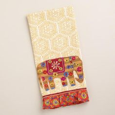 Our Gold Elephant Decorative Tea Towel brings a lovely, worldly look to your kitchen linens. Crafted in India of cotton, this tea towel features a bright gold, embroidered elephant and an appliqué border - an exclusive World Market design staple that's perfect for enjoying a spot of tea! Available at Cost Plus World Market >>#WorldMarket #BestExoticMarigold Sweepstakes #LoveBlooms