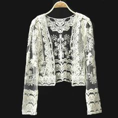 Womens Beige Long Sleeve Lace Hollow Embroidery Outerwear