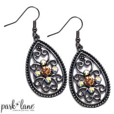 "NEW ""ENCORE"" Park Lane Earrings Hematite scrollwork is accented with aurora borealis and topaz Austrian crystals. Park Lane Jewelry, Austrian Crystal, Bridal Jewelry, Jewelry Collection, Topaz, Crochet Earrings, Drop Earrings, Pierced Earrings, Fashion Jewelry"