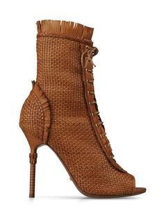 Sergio Rossi Kalahari Women Boots Tan woven leather bootie with short fringe detail and peeptoe. Summer 2013 currently on sale !