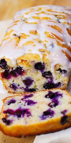 Lemon blueberry bread - Blueberry lemon bread with lemon glaze blueberries bread lemon summer glaze breakfast breakfastbread Lemon Desserts, Köstliche Desserts, Delicious Desserts, Yummy Food, Non Dairy Desserts, Easy To Make Desserts, Plated Desserts, Def Not, Summer Dessert Recipes
