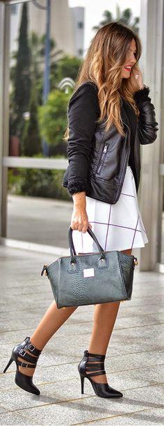 FABULOUS HANDBAG - fluffy long sleeve crop sweater, white skirt by Mi Aventura Con La Moda