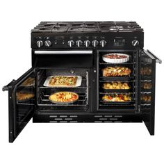 Huge capacity ovens in the Rangemaster 100cm ranges - I love my Rangemaster Pro Deluxe with multi function oven including second grill within the oven, keeps flavour in and kitchen cooking smells out :)