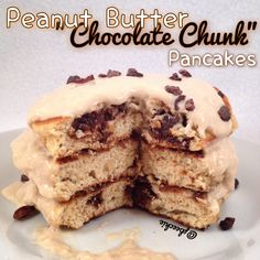 "Peanut Butter ""Chocolate Chunk"" Pancakes (peanut butter protein powder, PB2, egg whites, double chocolate chunk quest bar) 