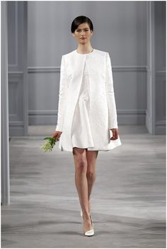 Chic white short Monique Lhuillier dress  on French Wedding Style Blog