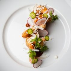 tostada with UNI mousse and shrimp, and the art of plating...
