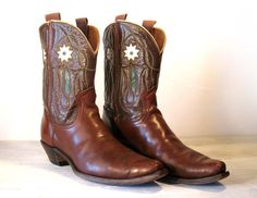50's FRYE Brown All Leather Shorty Pee Wee Cowboy Boots with Inlays.