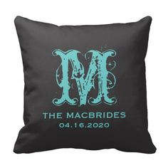 Rustic Teal Monogram against Black Wedding Date Pillow