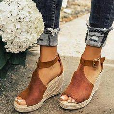 Peep Toe PU Blocking Hook-Loop Wedge Sandals - Sandals Shoes - Ideas of Sandals Shoes - Women Chic Espadrille Wedges Adjustable Buckle Sandals Embellished Sandals, Lace Up Sandals, Leopard Sandals, Sandals Sale, Trendy Sandals, Boho Sandals, Beach Sandals, Leather Sandals, Espadrilles