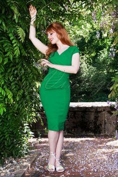 64c0fb846196ca 50s Brenda Pencil Dress in Spring Green
