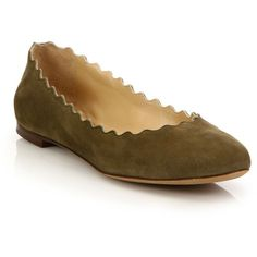 Chloe Scalloped Suede Ballet Flats (12.865 CZK) ❤ liked on Polyvore featuring shoes, flats, apparel & accessories, khaki, flat shoes, suede ballet flats, ballet pumps, ballet flats and slip on shoes