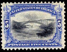'Bridge at Niagara Falls'  5¢ - Ultramarine and black or dark ultramarine and black