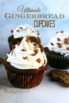 This Ultimate Gingerbread Cupcakes Recipe is topped with a delicious cream cheese frosting.