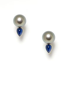 Assael Grey Tahitian Pearl & Sapphire Teardrop Earrings