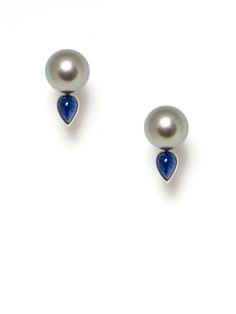 Assael Grey Tahitian Pearl & Sapphire Teardrop Earrings, very pretty!