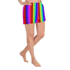 Gay Pride Shorts, Rainbow Stripe Women's Athletic Short Shorts-Made in – Heidi Kimura Art LLC Yoga Capris, Yoga Leggings, Women's Athletic Shorts, White Flats, Athletic Women, Running Shorts, Gay Pride, Running Women, Printed Shorts