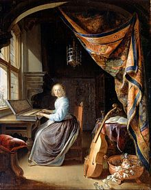 Gerrit Dou. A Woman playing a Clavichord, c. 1665.