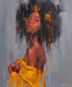 Artwork by Gank Pansuay Black Art Painting, Black Artwork, Black Love Art, Black Girl Art, African American Art, African Art, Art Afro, Natural Hair Art, Magic Art