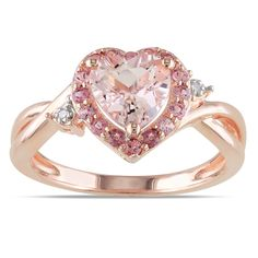 Miadora Rose Plated Silver Morganite, Tourmaline and Diamond Ring | Overstock.com Shopping - The Best Deals on Gemstone