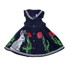 bunnies and poppies sailor girl party dress - handpainted