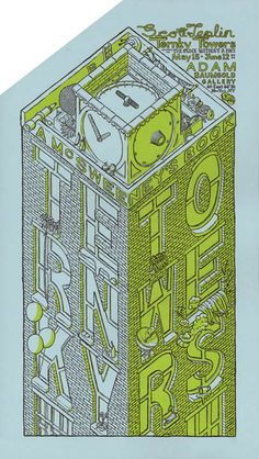 Two-color letterpress poster for Scott Teplin's exhibition «The Clock Without a Face» at the Adam Baumgold Gallery, NY - 2010