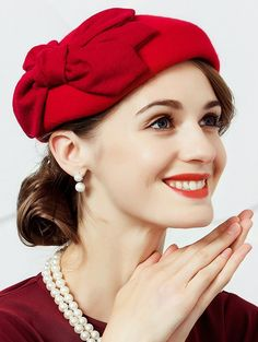 Vintage British style Bowknot Embellished Pillbox Hat - RED