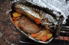 """Hobo meals"" as my grandpa calls them- veggies and meat in foil packets. Great for camping! Can even be pre-packed."