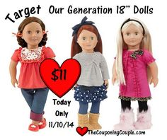Save 56% on an Our Generation Doll TODAY at Target. Get one for $11, WOW!  Click the link below to get all of the details ► http://www.thecouponingcouple.com/half-off-our-generation-dolls-at-target-today-only-111014/ Visit us at http://www.thecouponingcouple.com for more great posts!