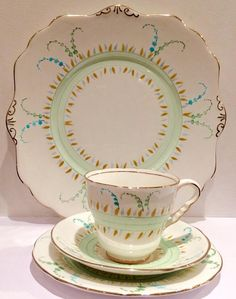 Royal Stafford vintage tea set china x 1 tea cup saucer side plate trio & plate Katies Vintage Teacup Company Tea Parties - Events - Weddings - Gifts Collectors - Replacement China - Theatre/Film Props China Match - China Search DESCRIPTION: 1 x Serving Plate 9 & Teacup trio