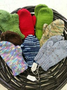 A new selection of hand knit kid's mitts.