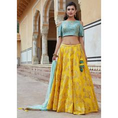 Bright yellow lehenga in silk with contrast blouse adorn in zari and resham work only on Kalki Raw Silk Lehenga, Banarasi Lehenga, Yellow Lehenga, Indian Lehenga, Lehnga Dress, Lehenga Blouse, Lehenga Skirt, Indian Wedding Outfits, Indian Outfits