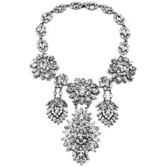 Swarovski crystal statement necklace ($1,299) ❤ liked on Polyvore featuring jewelry, necklaces, pearl necklace, statement bib necklace, white pearl pendant necklace, ivory pearl necklace and statement necklaces