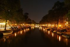 Amsterdam at night.