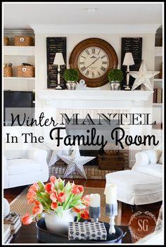 WINTER MANTEL 2016-A classic mantel with a farmhouse feel.