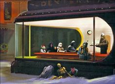 "Very, very cool - Star Wars through the Holidays. littleboneslou: "" dbsw: "" Star Wars through the Holidays This wonderful take on Edward Hopper's Nighthawks was done by Episode III concept designers. Star Wars Fan Art, Star Trek, Edward Hopper, Starwars, Star Wars Christmas Cards, Holiday Cards, Christmas Eve, Christmas Things, Star Wars Weihnachten"