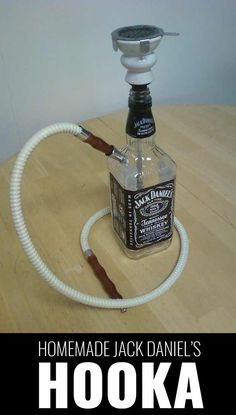 Decorative Bottles : One Creative Mama: Homemade Jack Daniels Hookah -Read More – Lampe Jack Daniels, Jack Daniels Gifts, Jack Daniels Bottle, Liquor Bottle Crafts, Alcohol Bottles, Crafts With Bottles, Empty Liquor Bottles, Tequila Bottles, Glass Bottles