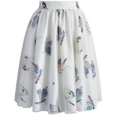 Chicwish Butterfly's Tale Tulle Skirt found on Polyvore featuring skirts, bottoms, white, ballet skirt, floral skirt, floral print skirt, white floral skirt and white summer skirts