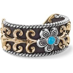 American West 925 Sterling Turquoise Flower Leather Mixed Metal Cuff Mix it up with mixed metal and mixed materials in this cuff bracelet from American West! Gold-tone brass leaf patterns are laid over a backdrop of leather show a natural while 925 sterling silver rope detail and oxidized design work frame the mixed material cuff. A sterling silver flower topped off with a genuine blue turquoise gemstone in round-cut take center stage for a fun cuff that can be dressed up or down. As usual…