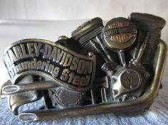Harley Davidson Belt Buckle,Thundering Steel Motorcycle Emblem Signed Brass USA 1991 HD buckle via Etsy