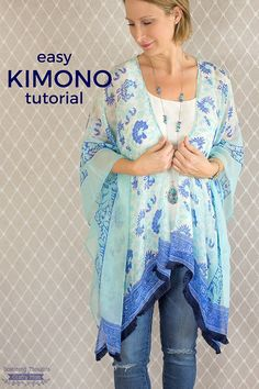 Light and breezy and sewn from beautiful prints, kimono tops are perfect for summertime layering! They're also easy to sew, and Jamie from Scattered Thoughts of a Crafty Mom has a tutorial s…