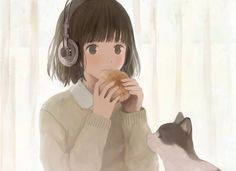 Anime / Manga Kawaii Cute Girl & Cat