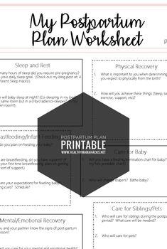 Free Printable: Postpartum Plan Worksheet for new parents!