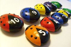 Ladybug Color Counting Stones are 10 hand-painted rocks ranging in size from 1-3/4 inches to 2-1/2 inches. These painted stones help your child learn their colors, number recognition, size concepts, and basic counting and math skills. Each stone is painted in a bright primary or secondary color an