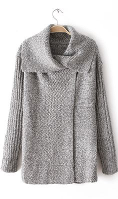 Irregular collar variegated cotton sweater grey